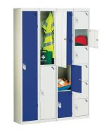 Lockers in blue and grey door finishes