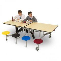 8 Seat Rectangular Folding Mobile Table Seating Unit