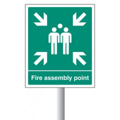 Aluminium Fire Assembly Point with channel clip for post mounting