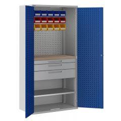 ToolStor 1 Shelf & 3 Drawer Mini Workshop Cupboard - Blue Doors