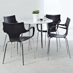 Fairford 4 Leg Base White Table and Black Chair Set