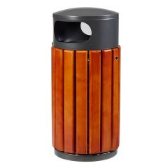 Zeno Steel Outdoor Waste Bin with Wooden Slats