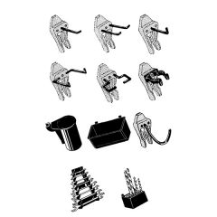 53 Assorted Tool Clips for Perforated Panel