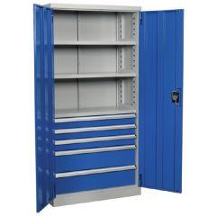 Industrial Drawer Cabinet / Workstation, 5 Drawer & 1 Shelf Locker