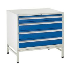 900 Euroslide Cabinet on Stand - 4 Drawers - 3 x 150mm - Blue