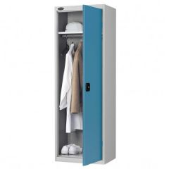 Probe Slim Wardrobe Cupboard - Silver Body - Blue Door