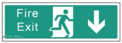Braille Sign - Fire Exit Down, 450 x 150mm