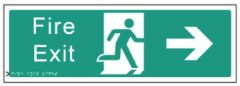 Braille Sign - Fire Exit Right, 450 x 150mm