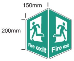 EasiFIX projecting Fire Exit sign, 150 x 200mm