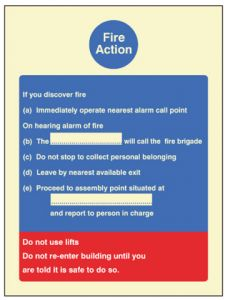 Fire Action standard (fire service dialled manually)