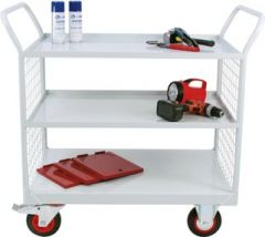 Heavy Duty Maintenance Trolleys with Mesh Sides and 3 Shelves