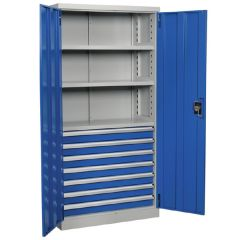 Industrial Cabinet with 7 Drawers & 3 Shelves