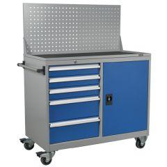 Industrial Mobile Workstation - 5 Drawer and 1 Shelf Locker