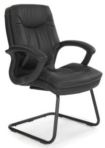 Leather Faced Cantilever Armchair