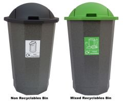 Mixed Recyclable and Non Recyclable Bins