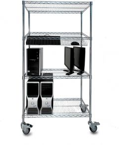 ESD Chrome Wire Shelving (shown with braked castors - available on request)