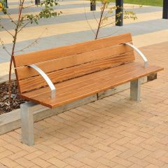 Steel Framed Bench with Timber seat with Armrests