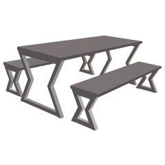 Arizona Table and Benches Grey