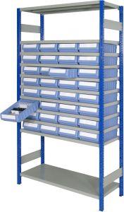 Boltless shelving Kit C with shelf trays