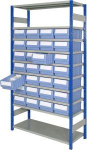 Boltless shelving Kit D with shelf trays
