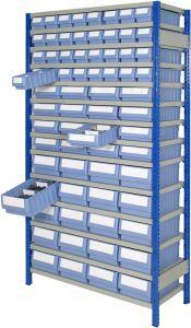 Boltless shelving Kit E with shelf trays