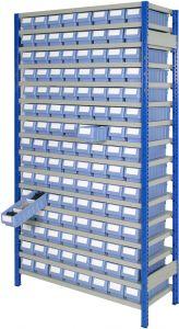 Boltless shelving Kit F with shelf trays