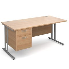 Chicago Cantilever Single Pedestal Desk - 2 Drawer - W1600 - Beech