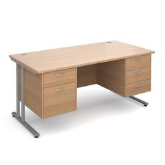 Chicago Cantilever Double Pedestal Desk - 2/3 Drawer - W1600 - Beech