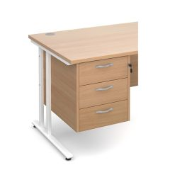 Chicago 3 Drawer Fixed Pedestal - Beech
