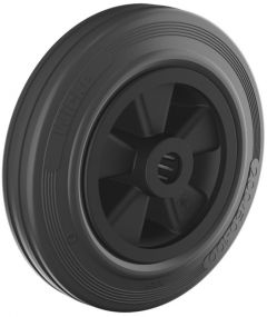 Black rubber tyre with plastic centre