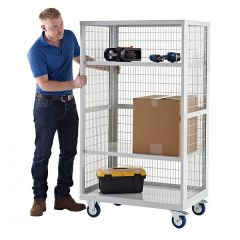 Boxwell Mobile Storage Cages - Steel Shelves