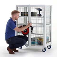 Boxwell Mobile Storage Cages with Doors - Steel Shelves