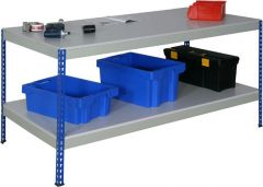 Rivet style Garage Workbenches - Light Grey MFC Worktop