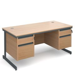 Maestro Double Pedestal Cantilever Desk - 2x2 Drawers - Beech - W 1532