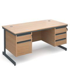 Maestro Double Pedestal Cantilever Desk - 2x3 Drawers - Beech - W 1532