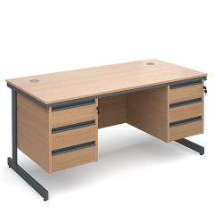 Maestro Double Pedestal Cantilever Desk - 3x3 Drawers - Beech - W 1532