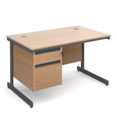 Atlanta Single Pedestal Cantilever Desk - 2 Drawer - Beech - W 1228