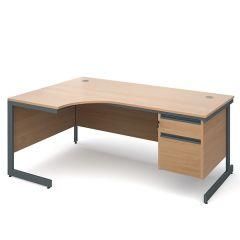 Atlanta Single Pedestal Ergonomic Desks - Left - Beech - 2 Drawers