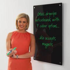 WriteOn Coloured Glass Board in black, 1000 x 650mm