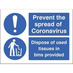 Coronavirus -Dispose of Tissue Sign