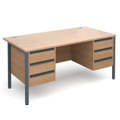 Orlando Double Pedestal Desk - 2x3 Drawer - W1600 - Beech