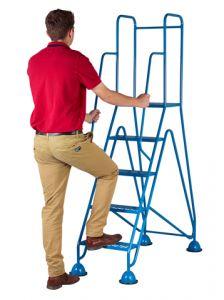 Easy Glide Mobile Steps - Blue, 5 Mesh Tread