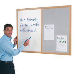 Eco-Friendly Dual Cork Noticeboards, Grey felt in use