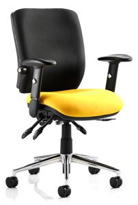 Enterprise Black Back Office Chair shown with yellow seat