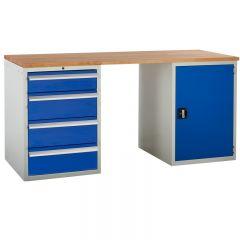 Euroslide Pedestal Bench - 1 Cupboard, 4 Drawers