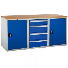 Euroslide Pedestal Bench - 2 Cupboards, 4 Drawers