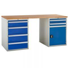 Euroslide Pedestal Bench - 1 Cupboard, 6 Drawers