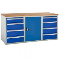 Euroslide Pedestal Bench - 1 Cupboard, 8 Drawers