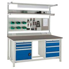 Euroslide Linoleum Worktop Super Workbenches with accessories
