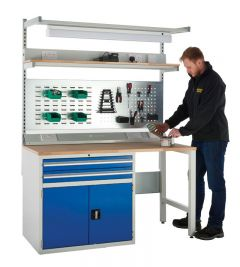 Euroslide SystemTek Beech Workbenches 1500mm - 2 Drawers, 1 Cupboard, 2 Legs plus above accessories.